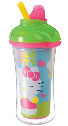 Munchkin Hello Kitty Click Lock Insulated Straw Cup, 9 Ounce, Green