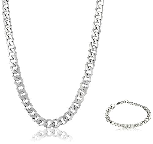 Men's Stainless Steel Curb Chain Bracelet and Necklace Jewelry Set, 22