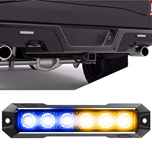 SpeedTech Lights Z-6 TIR 18W LED Strobe Light for Police Cars, Construction Trucks, Service Vehicles, Plows, Emergency Vehicles. Surface Mount Grille Flashing Hazard Beacon Light - Blue/Amber (The Best Light Truck Tires)