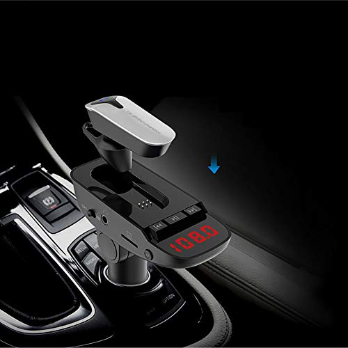 (HsgbvictS Wireless Bluetooth Earphone Car Charger Earphone Wireless Bluetooth Headset Earphone FM Transmitter MP3 Player with Microphone - Black )