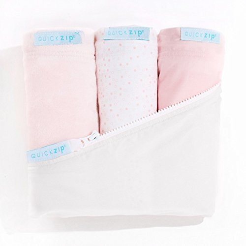 QuickZip Crib Sheet Set - Faster, Safer, Easier Baby Crib Sheets - Includes White Wraparound Base & 3 Zip-On Sheets - 1 Pink Cotton, 1 Pink Dot Cotton, 1 Pink Mink - Fits All Standard Crib Mattresses - Dots Pink Crib