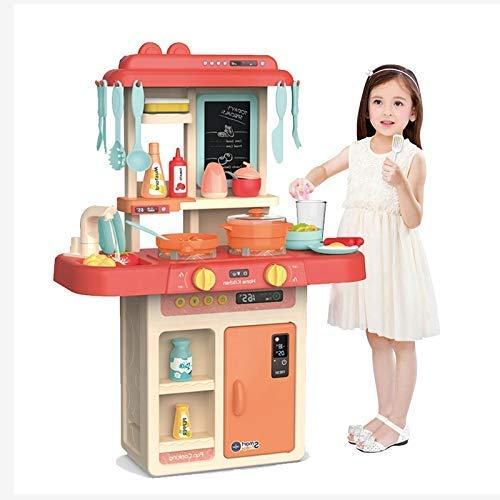 BIGFOLK Kids 42-Piece Barbie Kitchen Set for Kids Girls Toys | Realistic Lights and Sounds Play Sink with Running Water…
