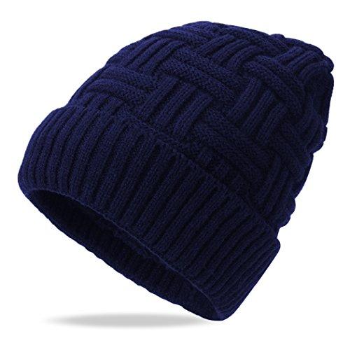 (iphonepassteCK Mens Winter Hat Slouchy Beanie Warm Knitting Wool Hats Skull Cap, Navy)