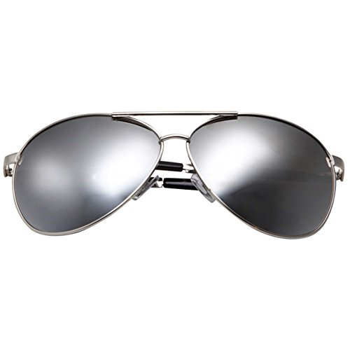grinderPUNCH - Big XL Wide Frame Extra Large Aviator Sunglasses Oversized 148mm Silver Mirrored ()