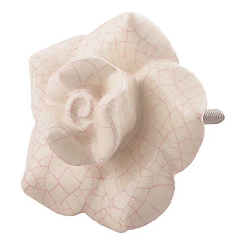 Indianshelf Handmade 12 Piece Flower Traditional Ceramic Cream Rose Artistic Rust Free Dresser Knobs Kitchen Pulls