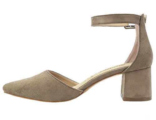 Greatonu Ladies Pointed Toe Mid Block Heel Ankle Strappy Court Shoes Sandals Beige UK70Ix