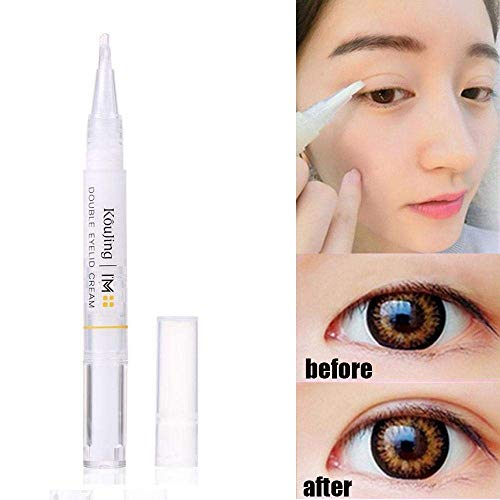 KOBWA Natural Invisible Double Eyelid Tape Stickers Cream, Waterproof Breathable Self-Adhesive Eyelid Lift Strip, Instant Eye Lift Without Surgery, Perfect for Uneven Droopy Hooded Eyelids