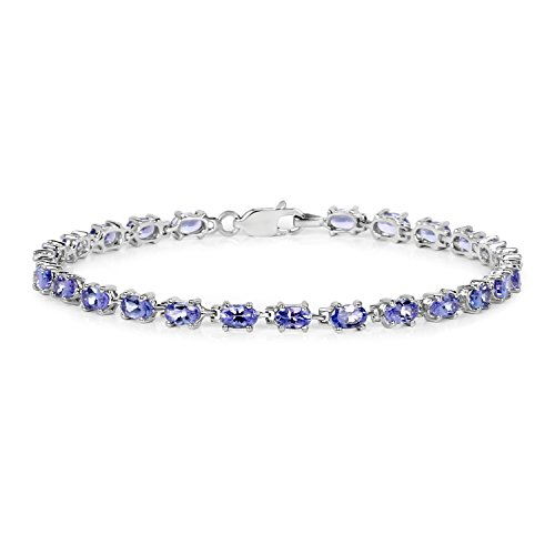 5.63 Carat Genuine Tanzanite Solid .925 Sterling Silver Tennis (Genuine Tanzanite Bracelet)