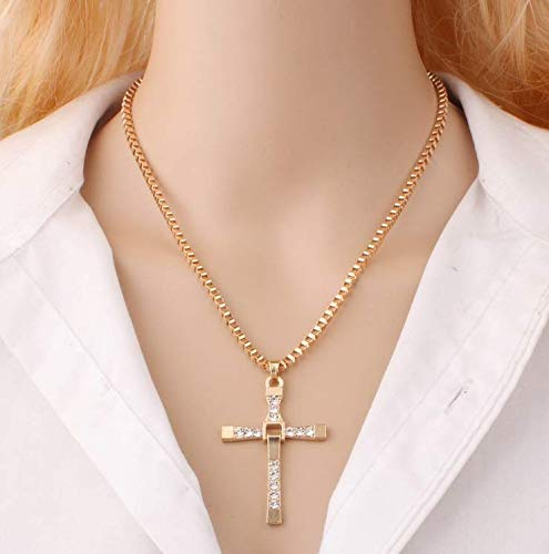 DJ Speed and Passion 8 Pendant Cross Necklaces Mens Necklaces Gold, Titanium-and-Stainless-Steel
