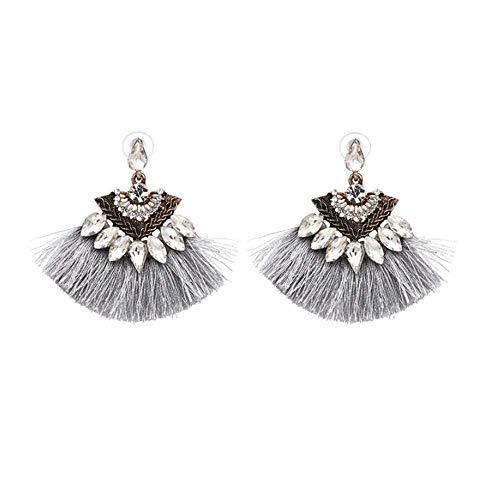 Elleda Jewelry Ethnic Boho Tassel Crystal Baroque Bohemian Large Drop Statement Earrings for Women Girls (Grey)