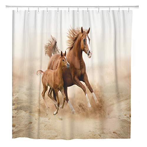 - ArtSocket Shower Curtain Brown Animal Purebred White Arabian Horse in Desert Foal Home Bathroom Decor Polyester Fabric Waterproof 72 x 72 Inches Set with Hooks
