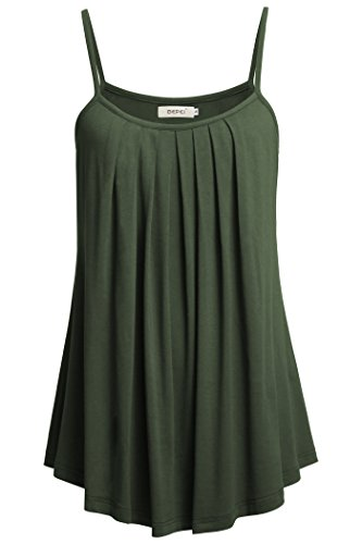 - BEPEI Women Loose Casual Summer Pleated Flowy Sleeveless Camisole Tank Tops,Armygreen,XX-Large