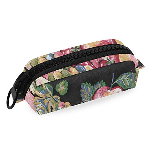 Pencil Case Apple Apples Black Red Strawberry Fruit Pen Pouch Big Zip Bag Cases Big Capacity for Girls Kids School College Office -