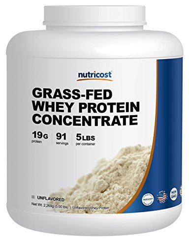Cheap Nutricost Grass-Fed Whey Protein Concentrate (Unflavored) 5LBS – Undenatured, Non-GMO, Gluten Free, Natural Flavors