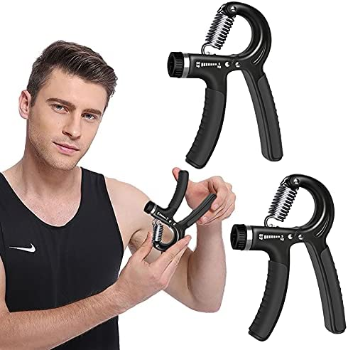 HUYIWEI Handtrainer 2 stuks onderarmtrainers handtrainer vingerhalter 560 kg verstelbare vingertrainer gripkracht trainingsset voor krachttraining fitness klimmen zwart