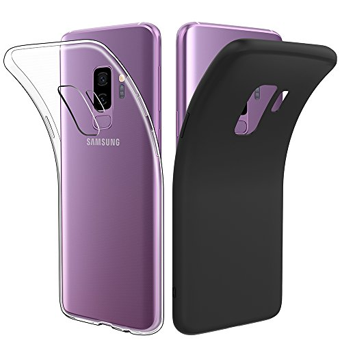 Simpeak [2 Pack] Galaxy S9+ Plus Case, Clear Slim TPU Case + Black Rugged Protector Case for Samsung Galaxy S9+ Plus 6.2inch (2018), [Drop Protection] [Anti Slip] [Scratch Resistant]