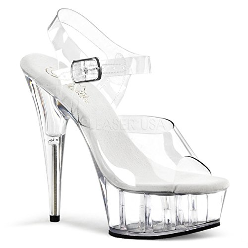 Pleaser Women's Delight-608 Ankle-Strap Sandal,Clear/Clear,8 M US