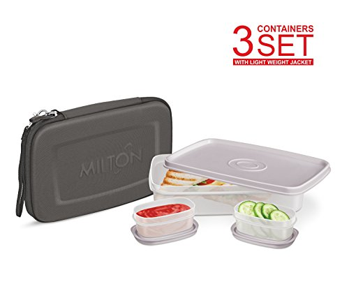 Lunch Box - Milton Slim Flat Lunch Box Bag Kit for Adults Bento Style - 1 Big & 2 Inner Containers Airtight, Leakproof; Hard Shell Sleeve Case with Handle Strap - Fits In Your Bag - Black by Milton Homery