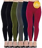 Diravo 6 Pack Women's Fleece Lined Leggings,Soft,High Waist,Slimming,Winter Warm Leggings