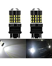 KATUR 4pcs Super Bright 3157 3047 3057 3057A 3155 3157A 3056 3156 3014 54SMD Lens LED Replacement Bulbs Turn Brake Signal Tail Back up Stop Parking RV Lights Amber