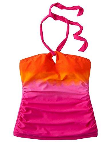 Shirred Halter Top (Chaps Women's Swimwear Keyhole Shirred Halter Tankini Top, Pink (6))