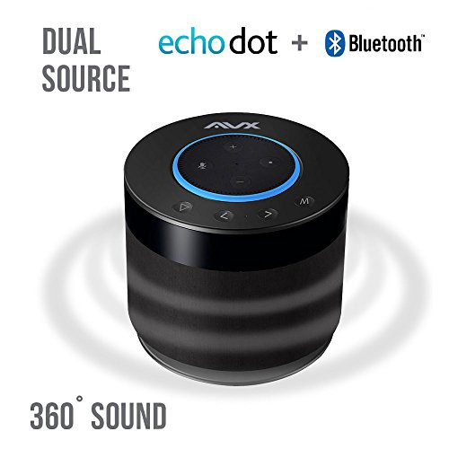 AVX Bluetooth Home Speaker for Echo Dot w/Battery Base (Black)