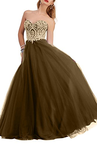 Brautmutterkleider Tuell mia Langes Tanzenkleider Partykleider Festlichkleider Abendkleider La Braun Brau Spitze Promkleider 7RWYwnF