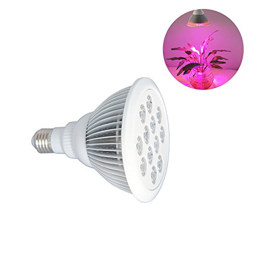 Powseed 24W LED Plant Grow Light Bulb for Hydroponic Garden Greenhouse Indoor Flower Herb Vegetable Growing 10 Red/2 Blue Lighting Spectrum Lamps Fit E27 Socket