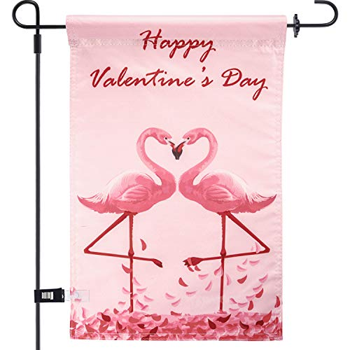 Chuangdi Garden Flag 12 x 18 Inch Decorative Valentine Day Heart Garden Flag with 1 Rubber Stopper and 1 Clear Anti-Wind Clip (Color 4) ()