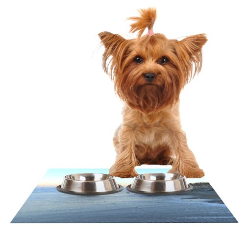Kess InHouse Robin Dickinson Sand Surf Sunshine  Beach Feeding Mat for Pet Bowl, 24 by 15-Inch