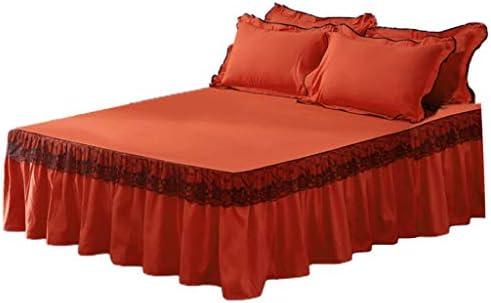 ベッドスカート ベッドシーツ レース 無地 柔らかい起毛 洗える 快適 四季適用 - オレンジ色, 180×220cm