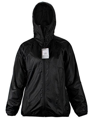 Foul Jacket Weather Cloth (NavisMarine Women's Lightweight Jacket Outdoor Windbreaker Waterproof Pullover Packable Hooded Quick Dry UV Protect 4.5 oz (Black, S))