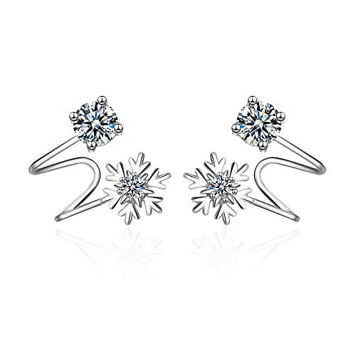 Snow Cuff - Orris Sterling Silver Fariry Diamond Snow Style Ear Cuff Wrap Stud Set Earring (For Pierced Ear)