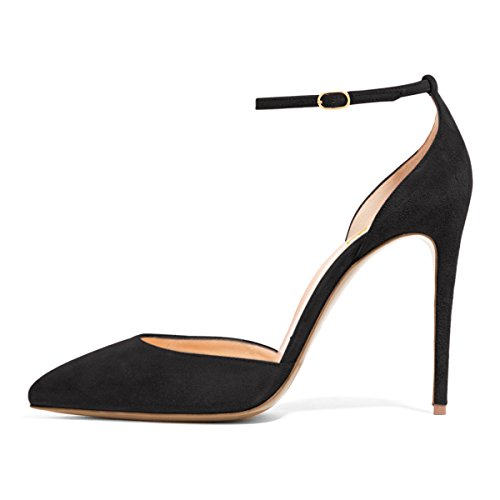 fake sale online FSJ Women Sexy Ankle Strap Pumps Pointed Toe Stiletto High Heel D'Orsay Dress Shoes Size 4-15 US Black Suede wide range of sale online cheap cost clearance perfect sale deals vxiSpZ