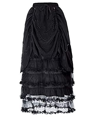 SCARLET DARKNESS Women Gothic Victorian Black Chain Decorated Ruffled Ruched Skirt