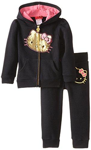 Hello Kitty Little Girls' Fleece Pant Set, Anthracite, 2T