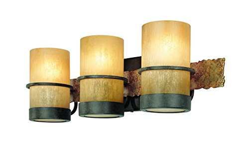 (Troy Lighting Bamboo 3-Light Vanity - Bamboo Bronze with Natural Slate Finish and Bamboo Glass)