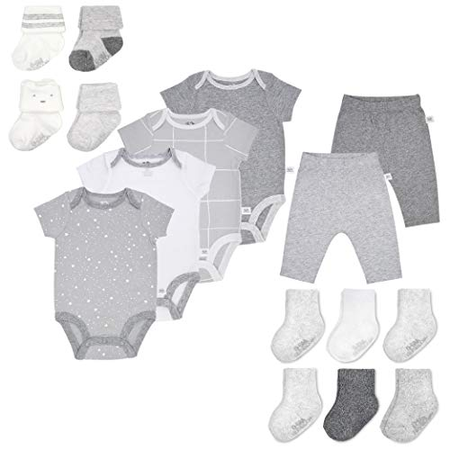 Fruit of the Loom Baby Gift Set 16-Piece Breathable Cooling Mesh Bodysuits, Pants and Socks - Unisex, Girls, Boys (0-3 Months, Grey) (Baby Layette Socks)