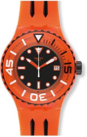 Swatch Sundowner Black Dial Orange Plastic Mens Watch SUUO400 (Sport Swatch Men)