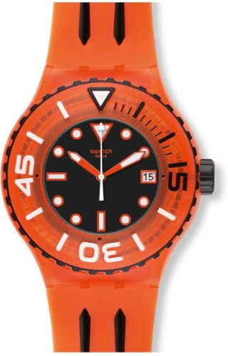 Swatch Sundowner Black Dial Orange Plastic Mens Watch SUUO400