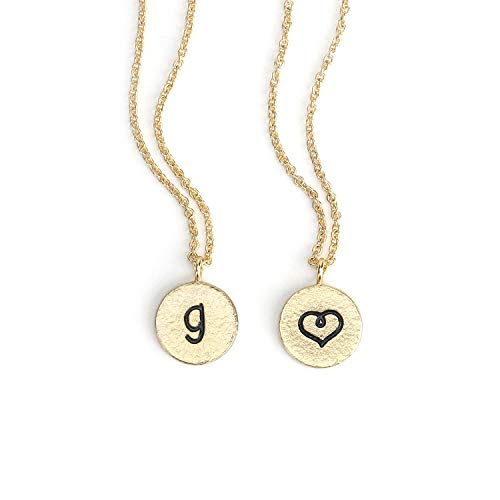 KISSPAT 14K Gold Charm Initial Necklace Round Disc Letter Pendant Jewelry for Women