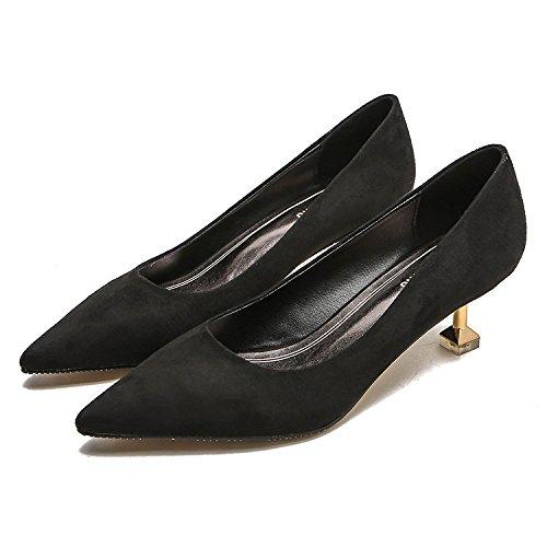Ruanlei@Sexy de Tacones Altos/Clásicas Tacones Altos/fashion - Cerrado Mujer/Tacones de Charol ElegantesElegante y versátil bajo luz casual y cómoda y zapatos de mujer black
