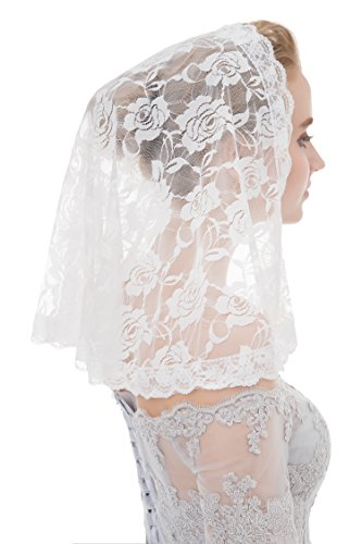 Abaowedding Veil Lace Mantilla Catholic Church Chapel Veil Head Covering Latin Mass White