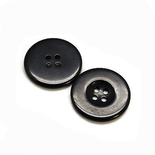 4 Hole Packet of 10 x Black Resin 30mm Round Buttons HA10230 - - Charming Beads