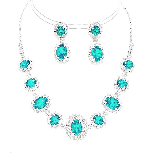 Elegant Clear Round Rhinestone Crystal Silver Necklace Earring Set Bridesmaid Prom Bride (Aqua)
