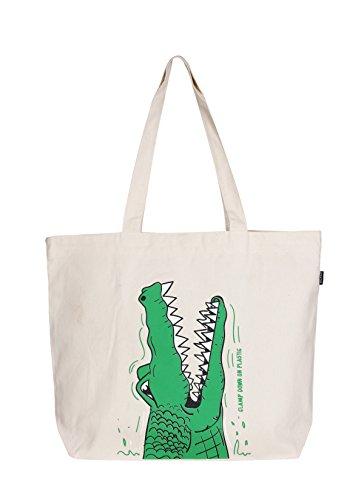 Eono Bolso de Mano Grande Crocs (Natural)