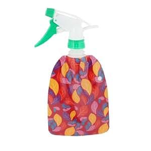 Leaf Print Plastic Trigger Flower Gardening Spray Bottle 300ml Green Yellow Red