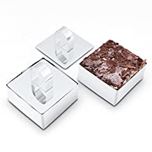 Uncle Jack Professional Stainless Steel Square Food Tower Presentation Cooking Molds with Food Press-Square Forms(set of 2) (3.15''L X 3.15''W X 1.57''H)