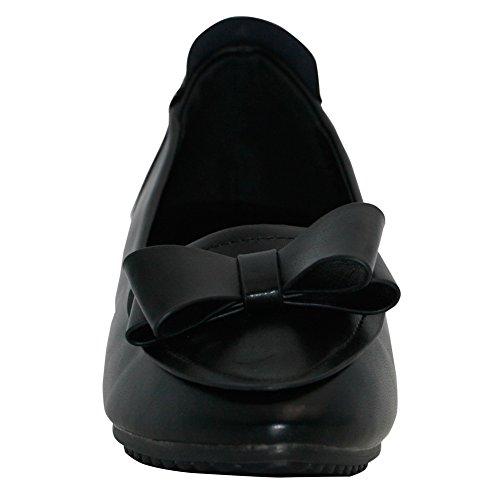 AalarDom Mujer Sin cordones Puntera en Punta Material Suave Sólido Plano con Pajarita Negro-Pajarita