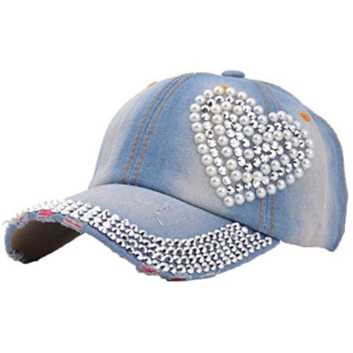 (Women Crystal Floral Denim Baseball Cap Bling Rhinestone Hip Hop Adjustable Snapback Hat)